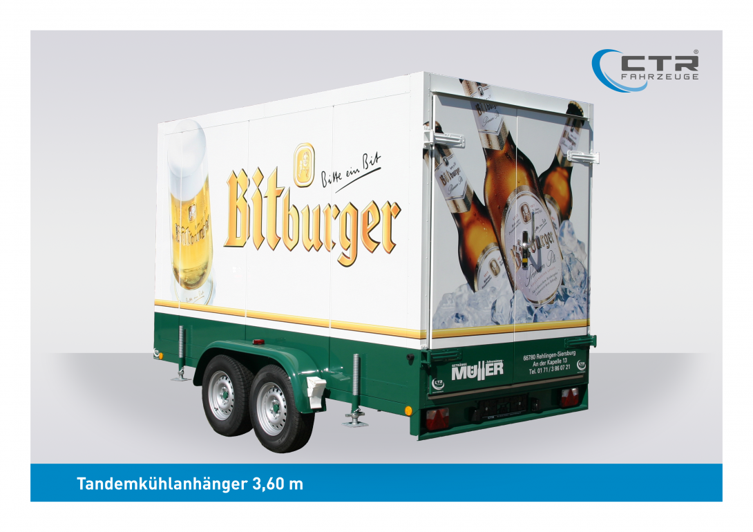 CTR-Fahrzeuge Kühlanhänger TKA 3,60 Bitburger Müller Getränke