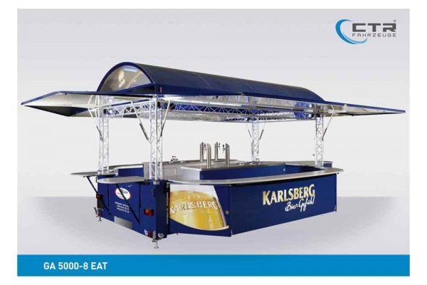 Absenkbarer Ausschankwagen mit Rundbogendach