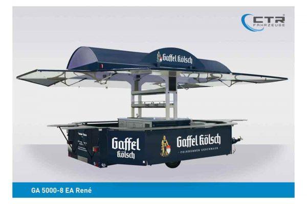 Absenkbarer Ausschankwagen Rundbogen Dachtransparent