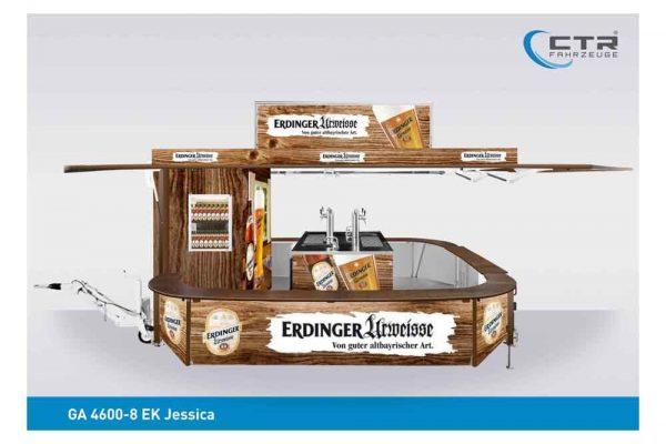 Ausschankwagen Erdinger Bier Holzoptik Dachtransparent