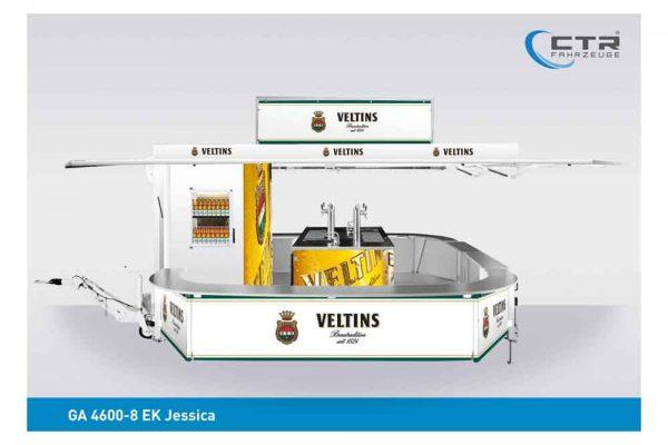Ausschankwagen mit Kühlhaus Flaschenregal elliptische Thekenbretter