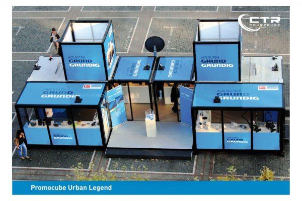 Promotionstand Promocube Urban Legend für die Firma Grundig