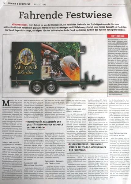 CTR Ausschankwagen in Getränke Zeitung