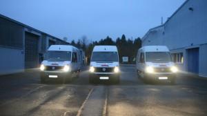 Drei Crafter der Firma Estrich Schlag auf unserem Firmengelände in Osann-Monzel