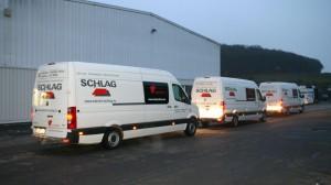 Drei Crafter der Firma Estrich Schlag auf unserem Firmengelände in Osann-Monzel CTR
