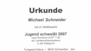 Michael Schneider 3. Platz im Wettbewerb Jugend schweißt
