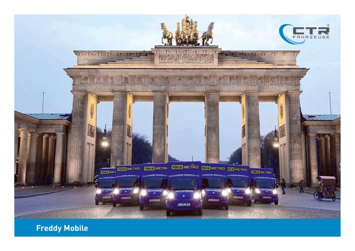 Freddy Mobil Promotionmobil Metro Berlin Brandenburgertor