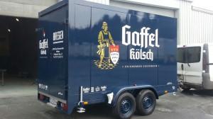 Tandemkühlanhänger für den Getränkehändler Bresgen aus Bad Münstereifel im Design der Gaffel Kölsch Brauerei