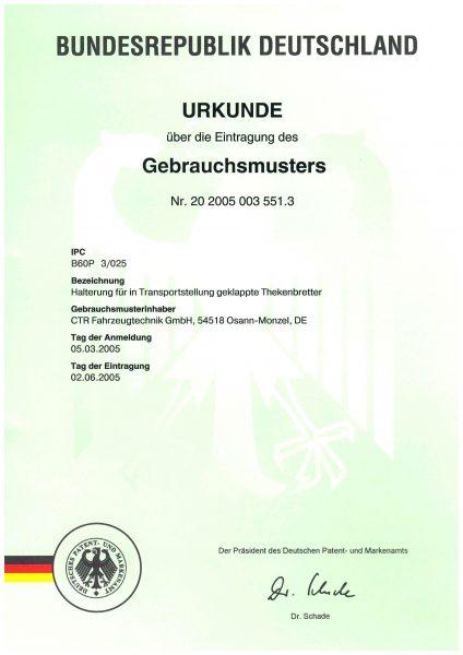 Urkunde Gebrauchsmuster - Halterung für die Transporterstellung geklappte Thekenbretter