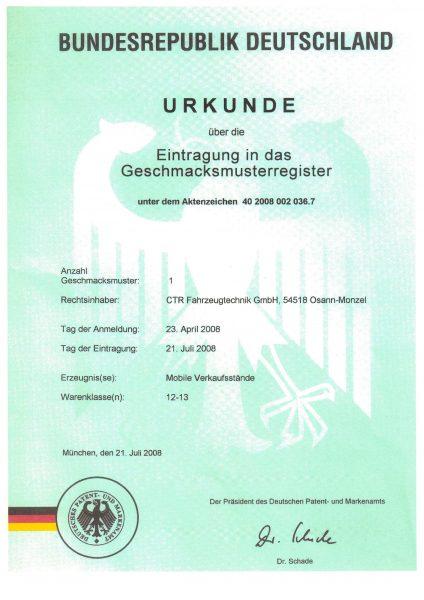 Urkunde Eintragung Geschmaksmusterregister - Mobile Verkaufsstände