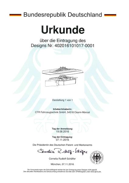 Urkunde Eintragung Design Ausschankwagen