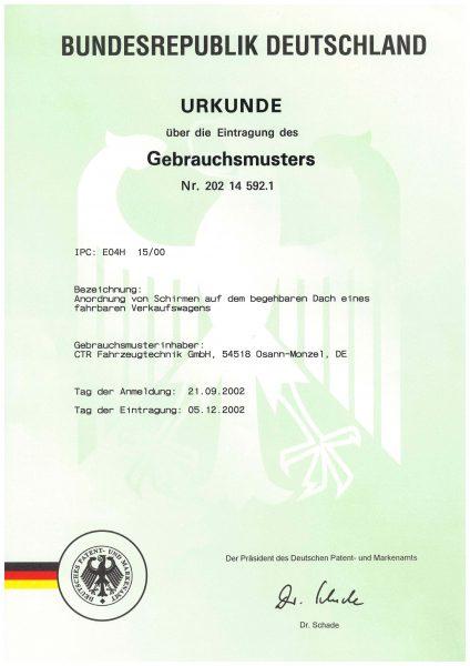 Urkunde Gebrauchsmuster - Anordnung von Schirmen - Dach eines fahrbaren Verkaufswagens
