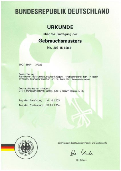 Urkunde Gebrauchsmuster - Verfahrbarer Getränkeausschankwagen