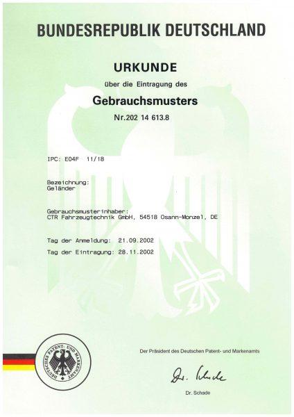 Urkunde Gebrauchsmuster - Geländer