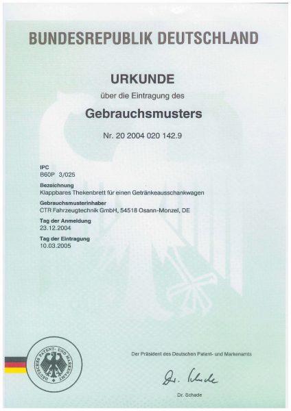 Urkunde Gebrauchsmuster - Klappbares Thekenbrett für einen Getränkeausschankwagen