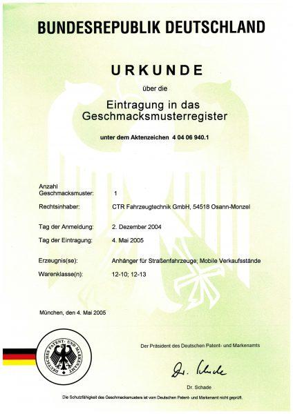 Urkunde Eintragung Geschmaksmusterregister - Anhänger für Straßenfahrzeuge, mobile Verkaufsstände