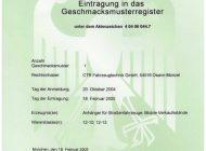 Urkunde Eintragung Geschmaksmusterregister - Anhänger für Straßenfahrzeuge, mobile Verkaufsstände V2
