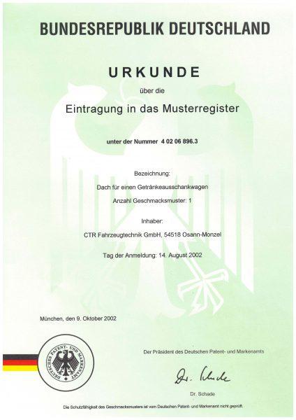 Urkunde Eintragung Musterregister - Dach für einen Getränkeausschankwagen