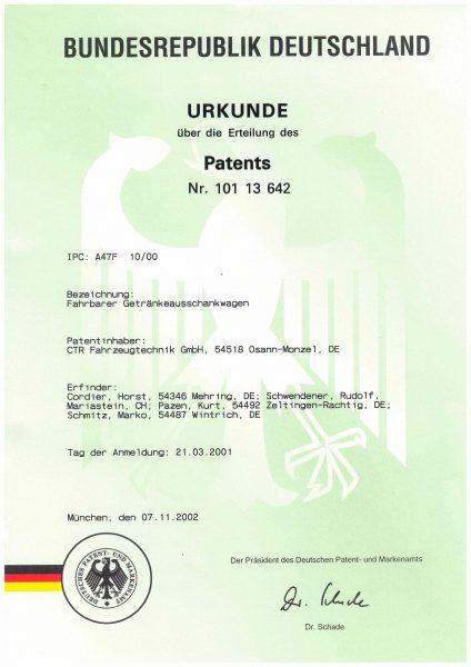 Urkunde Patent - Fahrbarer Getränkeausschankwagen