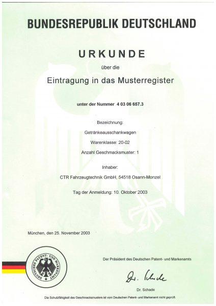 Urkunde Eintrag Musterregister - Getränkeausschankwagen