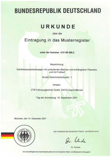 Urkunde Eintragung Musterregister - Getränkeausschankwagen mit umlaufender Markise, Planecke