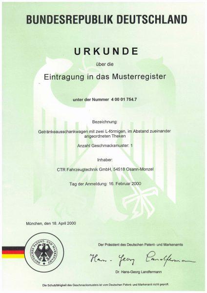 Urkunde Eintragung Musterregister - Getränkeaussschankwagen mit zwei L-förmigen Theken
