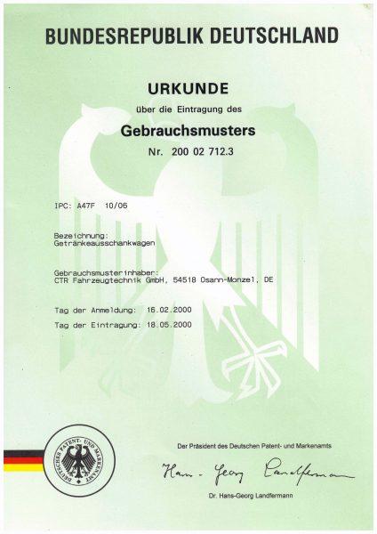 Urkunde Gebrauchsmuster Getränkeausschankwagen