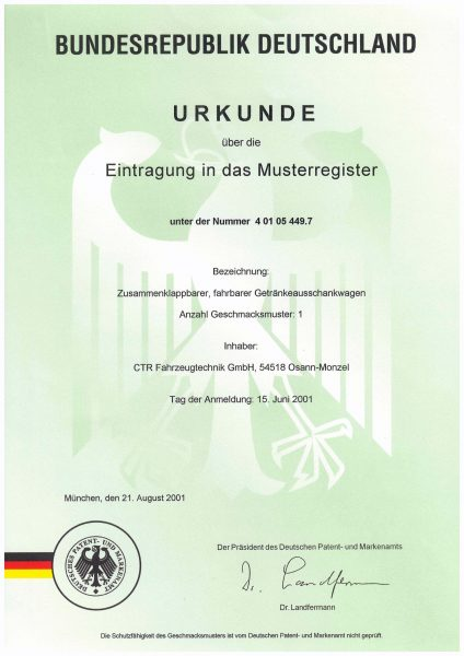 Urkunde Musterregister - Zusammenklappbarer, fahrbarer Getränkeausschankwagen