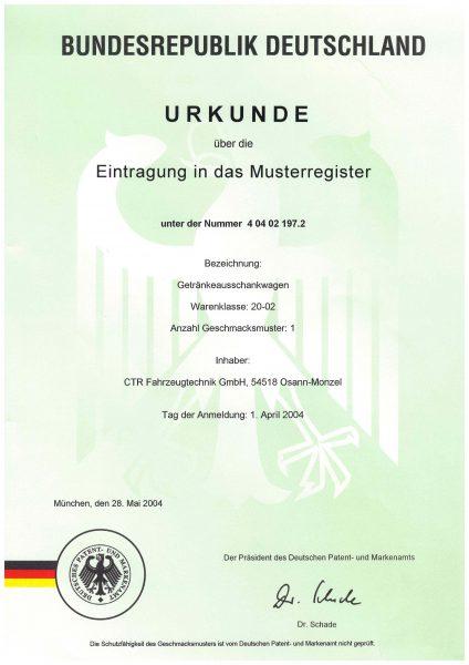 Urkunde Eintragung Musterregister - Getränkeausschankwagen