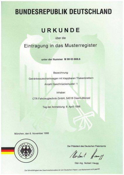 Urkunde Eintragung Musterregister - Getränkeausschankwagen mit klappbaren Theken