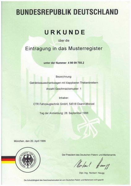 Urkunde Eintragung Musterregister Getränkeausschankwagen mit klappbaren Theken