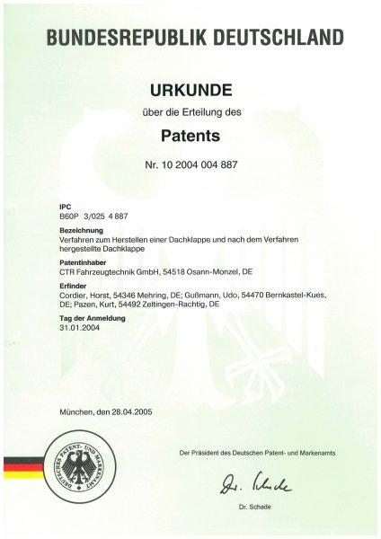 Urkunde Patent - Verfahren zum Herstellen einer Dachklappe