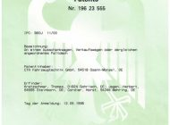 Urkunde Erteilung Patent Ausschankwagen, Verkaufswagen