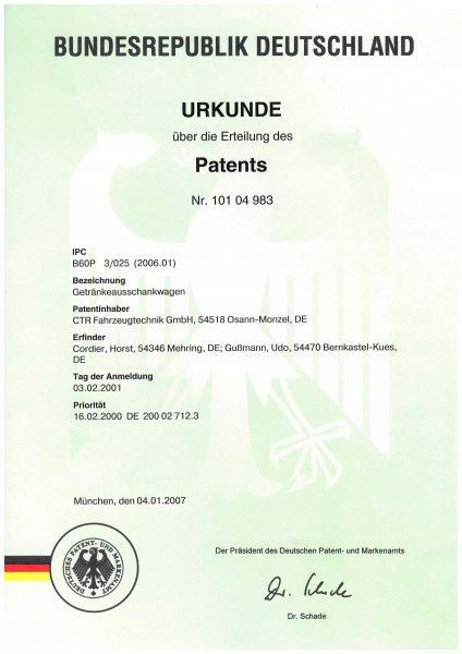 Urkunde Patent - Getränkeausschankwagen
