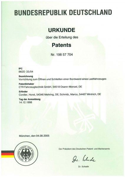 Urkunde Patent - Vorrichtung zum Öffnen und Schließen einer Bordwand eines Lastfahrzeuges