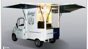 Ausschankmobil für die Lozärner Biermanufaktur als Außensteher (geöffnet)