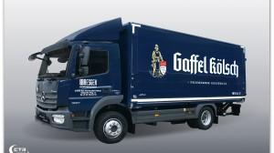 LKW-Schwenkwand im Gaffel Kölsch Design