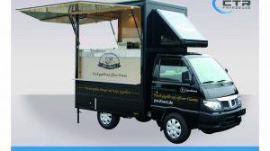 Kleines Verkaufsmobil auf Basis des Piaggio Porter