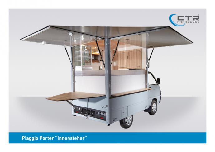 Piaggio Porter Innensteher Naskrent Suppenmobil Heckansicht geöffnet