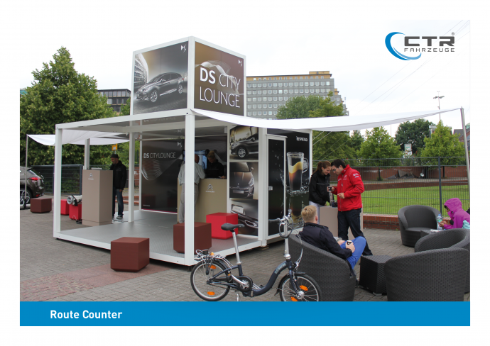 Promotion Anhänger Promocube Route Counter DS City Lounge