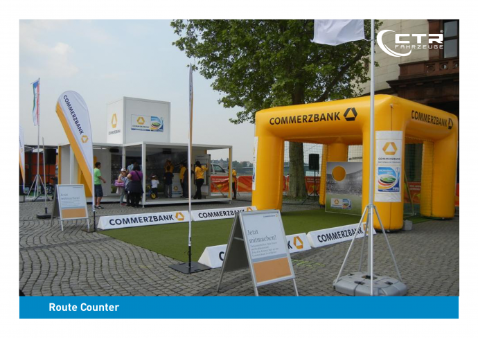 Promotion Anhänger Promocube Route Counter Commerzbank