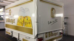 Der Wagen im Bitburger Design.